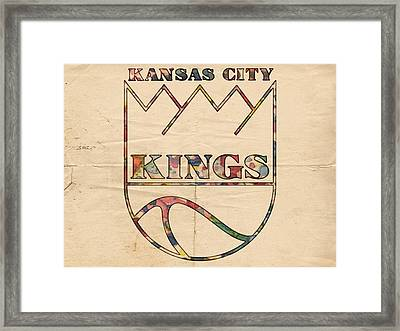 Kansas City Kings Retro Poster Framed Print by Florian Rodarte