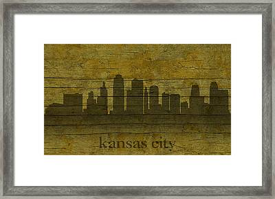 Kansas City Missouri City Skyline Silhouette Distressed On Worn Peeling Wood Framed Print