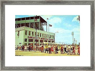 Kansas City Municipal Stadium In The 1950's Framed Print