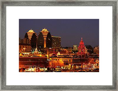 Kansas City Plaza Lights Framed Print by Catherine Sherman