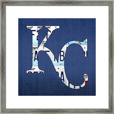 Kansas City Royals Recycled License Plate Art Baseball Logo Framed Print by Design Turnpike