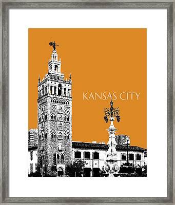 Kansas City Skyline 2 - Dark Orange Framed Print