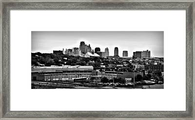 Kansas City Skyline And Roundhouse Bw Framed Print by Elizabeth Sullivan