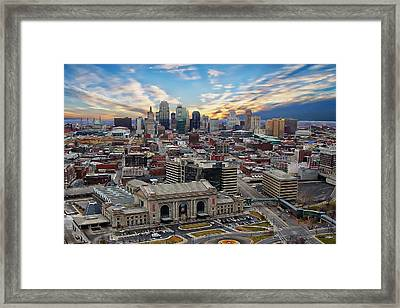 Kansas City Skyline Framed Print by Anthony Dezenzio