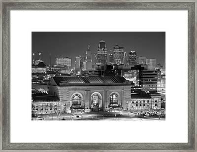 Kansas City Skyline At Night Kc Downtown Black And White Bw Panorama Framed Print