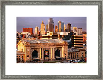 Kansas City Skyline Framed Print by James Kirkikis
