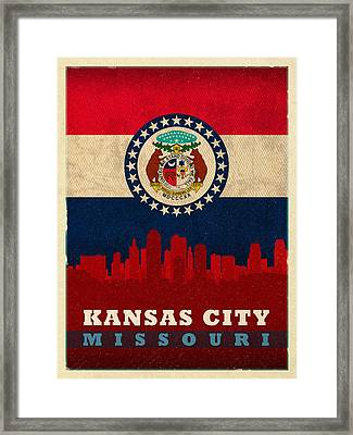 Kansas City Skyline State Flag Of Missouri Art Poster Series 008 Framed Print