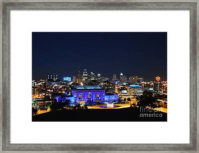 Kansas City Union Station In Blue  Framed Print by Catherine Sherman