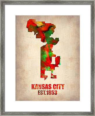 Kansas City Watercolor Map Framed Print by Naxart Studio