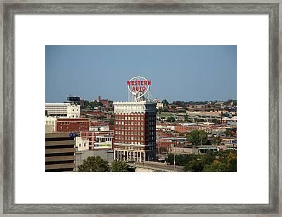 Kansas City - Western Auto Building Framed Print by Frank Romeo