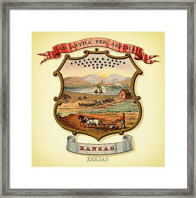 Kansas Coat Of Arms - 1876 Framed Print by Mountain Dreams