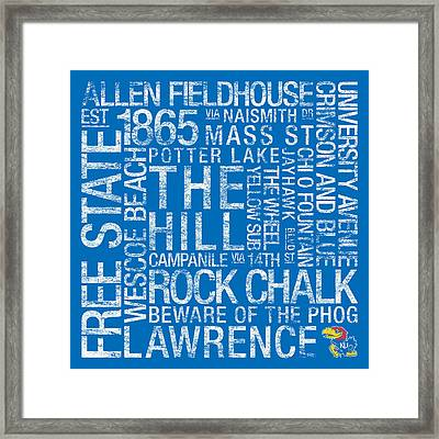 Kansas College Colors Subway Art Framed Print by Replay Photos