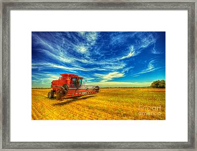 Kansas Combine Framed Print by  Caleb McGinn