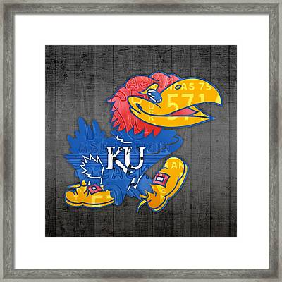 Kansas Jayhawks College Sports Team Retro Vintage Recycled License Plate Art Framed Print by Design Turnpike