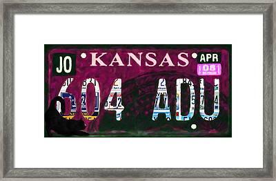 Kansas License Plate Framed Print by Lanjee Chee