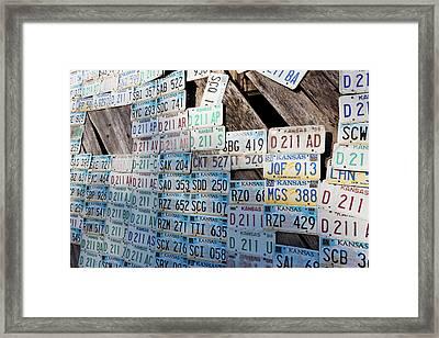 Kansas License Plates At Art Park Framed Print by Panoramic Images
