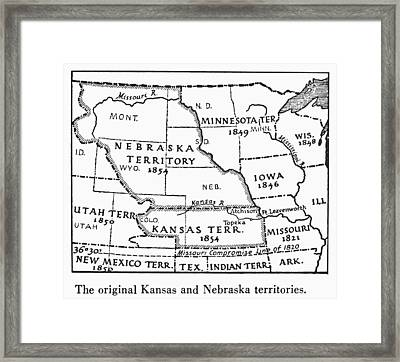 Kansas-nebraska Map, 1854 Framed Print