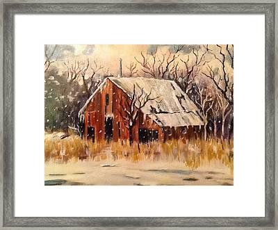 Kansas Snow Framed Print by Sheila Kinsey