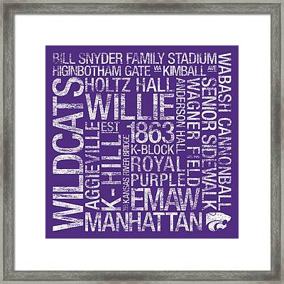 Kansas State College Colors Subway Art Framed Print