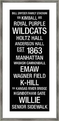 Kansas State College Town Wall Art Framed Print