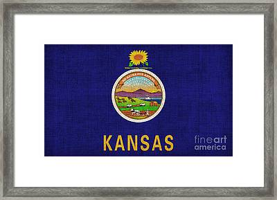 Kansas State Flag Framed Print by Pixel Chimp