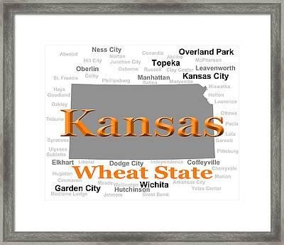 Kansas State Pride Map Silhouette  Framed Print by Keith Webber Jr