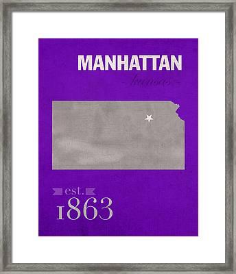 Kansas State University Wildcats Manhattan Kansas College Town State Map Poster Series No 052 Framed Print by Design Turnpike