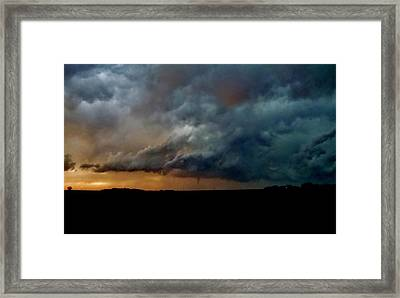 Framed Print featuring the photograph Kansas Tornado At Sunset by Ed Sweeney