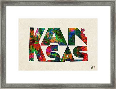 Kansas Typographic Watercolor Map Framed Print by Ayse Deniz