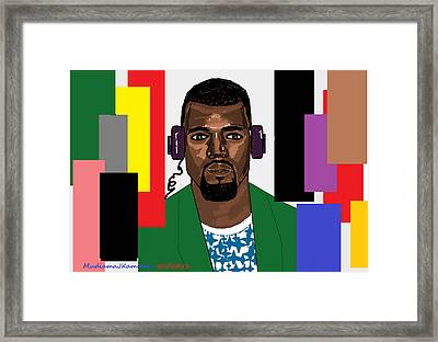 Kanye West- Music Not Skin Colours Framed Print by Mudiama Kammoh