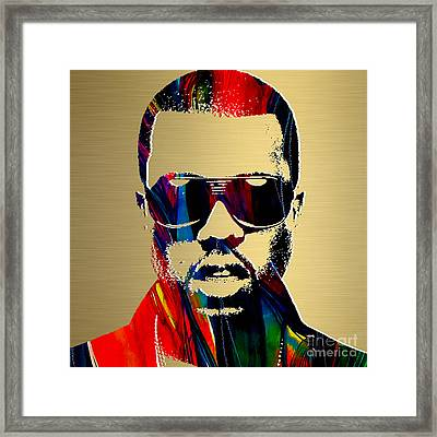 Kanye West Gold Series Framed Print by Marvin Blaine