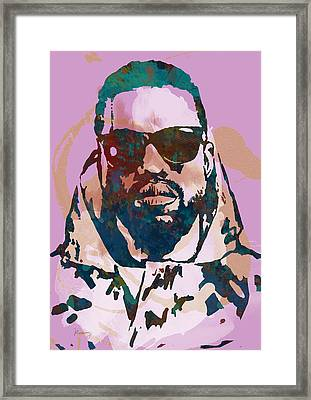 Kanye West Net Worth - Stylised Pop Art Drawing Potrait Poster Framed Print