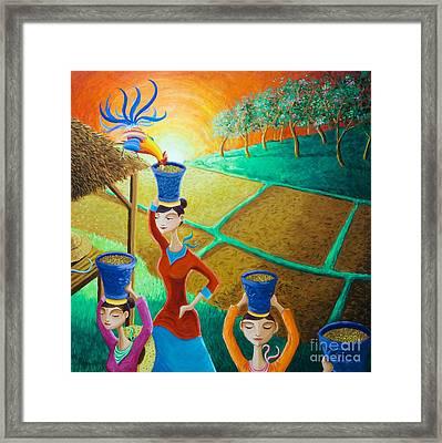 Kapag Palay Na Lumapit Sa Manok Framed Print by Paul Hilario
