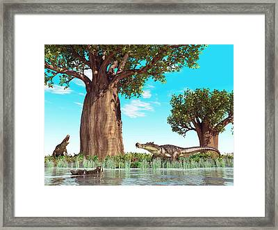Kaprosuchus Prehistoric Crocodiles Framed Print by Walter Myers