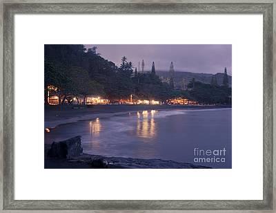 Kapueokahi - Hana Bay - Sunset Hana Maui Hawaii Framed Print by Sharon Mau