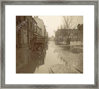Kar In Flooded Street During Flood Paris Framed Print by Artokoloro