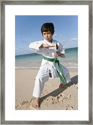 Karate Kid Framed Print by Brandon Tabiolo