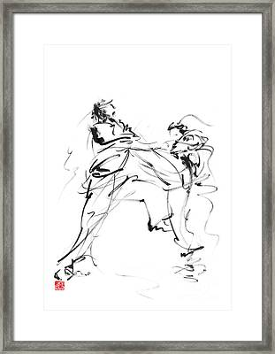 Karate Martial Arts Kyokushinkai Japanese Kick Oyama Ko Knock Out Japan Ink Sumi-e Framed Print by Mariusz Szmerdt