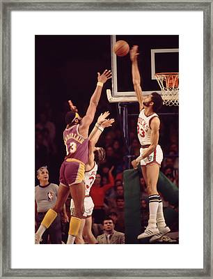 Kareem Abdul Jabbar Blocks Wilt Chamberlain Framed Print by Retro Images Archive