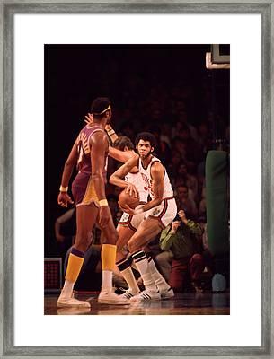Kareem Abdul Jabbar Gets Rebound Framed Print by Retro Images Archive