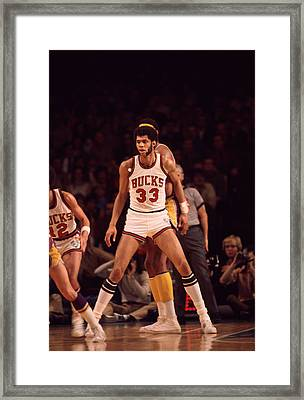 Kareem Abdul Jabbar Looking For Pass Framed Print by Retro Images Archive