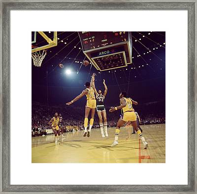 Kareem Abdul Jabbar Shoots Under Pressure Framed Print by Retro Images Archive