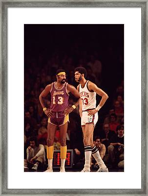 Kareem Abdul Jabbar Stands With Wilt Chamberlain Framed Print by Retro Images Archive