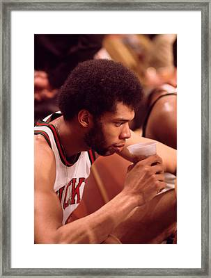 Kareem Abdul Jabbar Takes A Drink Framed Print by Retro Images Archive