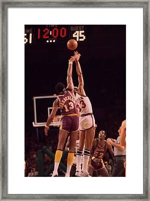 Kareem Abdul Jabbar Vs. Wilt Chamberlain Jump Off Framed Print by Retro Images Archive