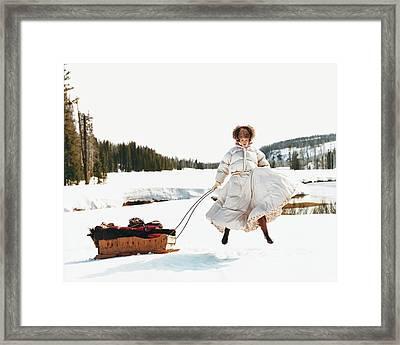 Karen Elson In The Snow Framed Print