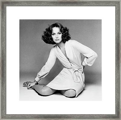 Karen Graham Wearing A Jersey Dress Framed Print