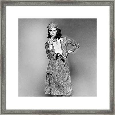 Karen Graham Wearing A Matching Cardigan Framed Print