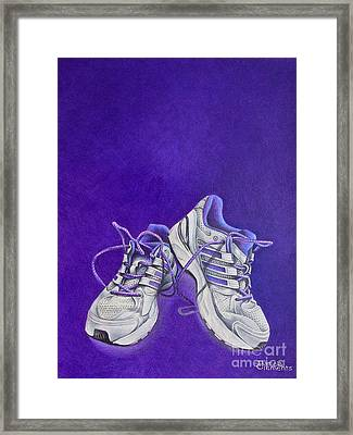 Framed Print featuring the painting Karen's Shoes by Pamela Clements