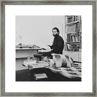 Karl Lagerfeld In His Apartment Framed Print